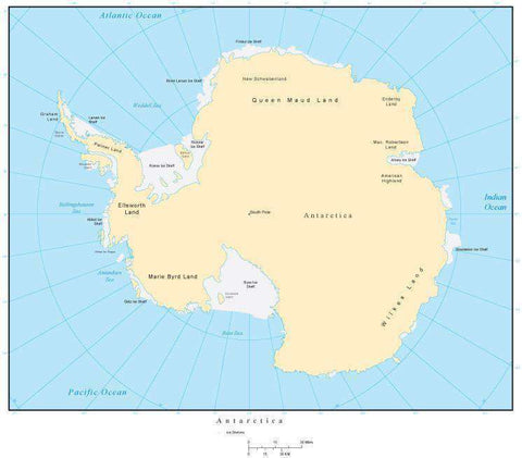 Antarctica Map with Countries, Capitals, Cities, Roads and Water Features