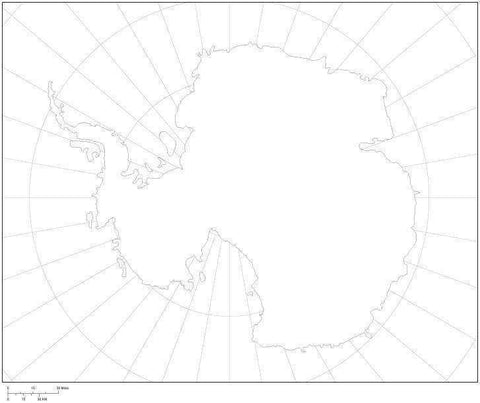 Digital Antarctica Blank Outline Map - Black & White
