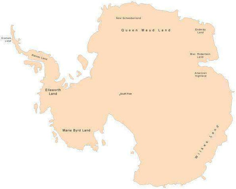 Digital Antarctica Single Color Map with Place Names