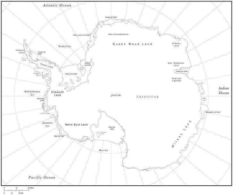 Black & White Antarctica Map with Countries, Capitals and Major Cities - ANTARC-533840