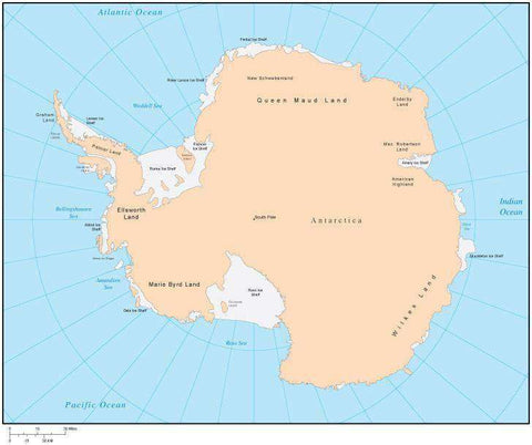Single Color Antarctica Map with Countries, Capitals, Major Cities and Water Features