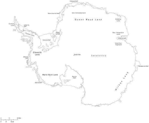 Black & White Antarctica Map with Countries, Capitals and Major Cities - ANTARC-533889