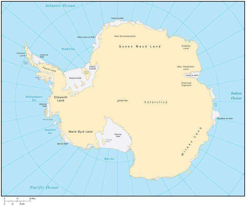 Multi Color Antarctica Map with Countries, Capitals, Major Cities and Water Features