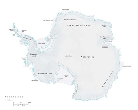 Antarctica Terrain map in Adobe Illustrator vector format and more ANTARC-542840