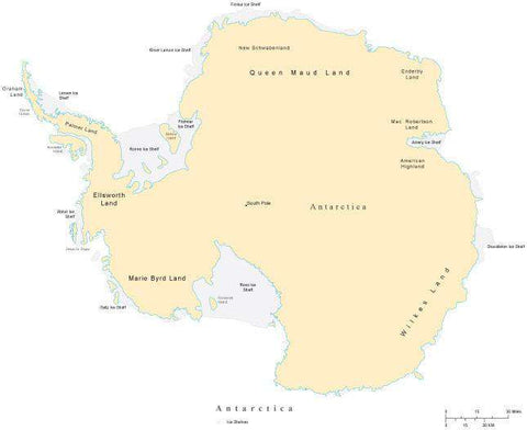 Antarctica Map with Countries Capitals Cities Roads and Water Features