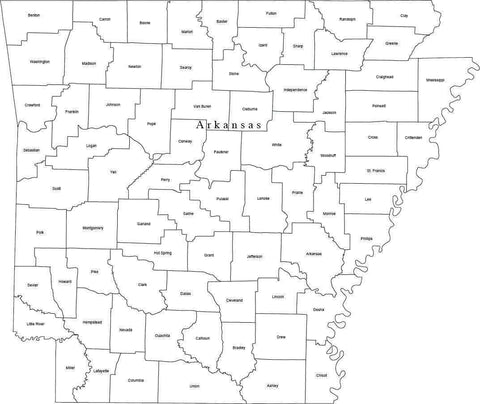 Black & White Arkansas Map with Counties