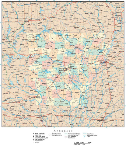 Arkansas Map with Counties, Cities, County Seats, Major Roads, Rivers and Lakes