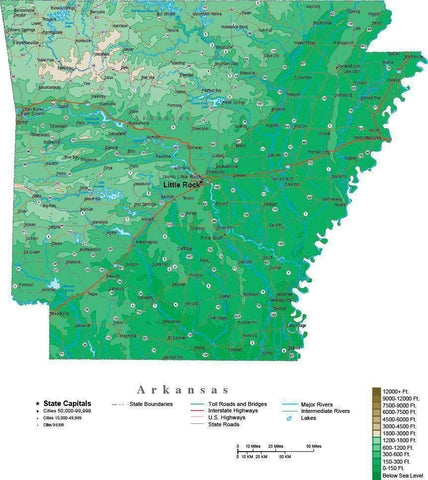 Arkansas Map  with Contour Background - Cut Out Style