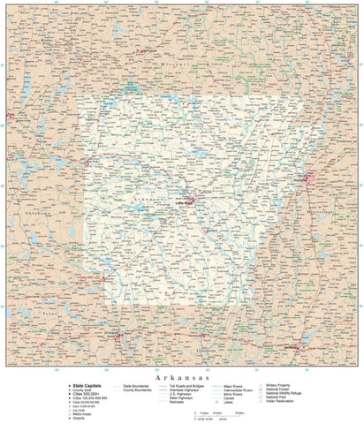 Poster Size Arkansas Map with County Boundaries, Cities, Highways, National Parks, and more