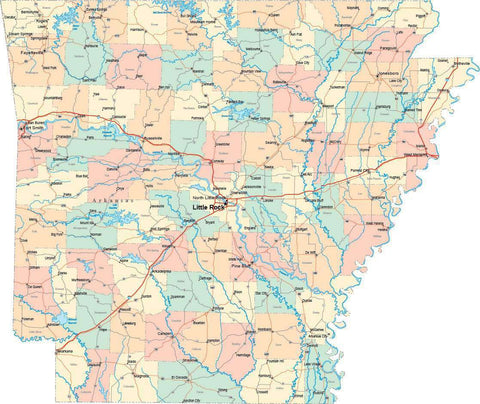 Arkansas State Map - Multi-Color Style - Fit Together Series