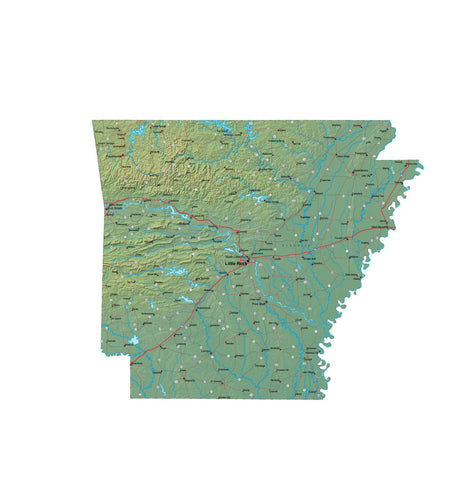Digital Arkansas Terrain map in Fit Together style with Terrain AR-USA-852105