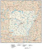 Arkansas Map with Capital, County Boundaries, Cities, Roads, and Water Features