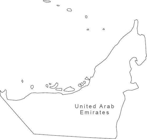 Digital Black & White United Arab Emirates map in Adobe Illustrator EPS vector format