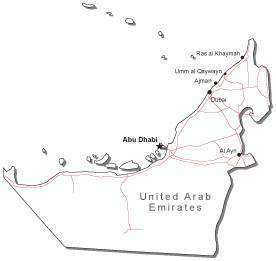 United Arab Emirates Black & White Map with Capital Major Cities and Roads