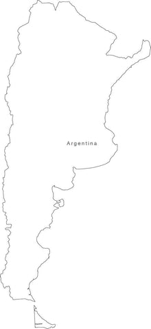 Digital Black & White Argentina map in Adobe Illustrator EPS vector format