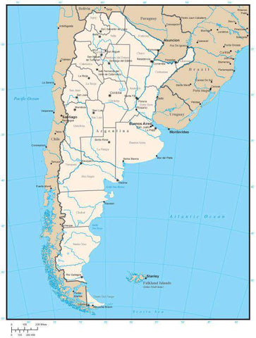 Argentina Map with Province Areas and Capitals