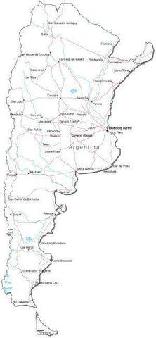 Argentina Black & White Map with Capital, Major Cities, Roads, and Water Features