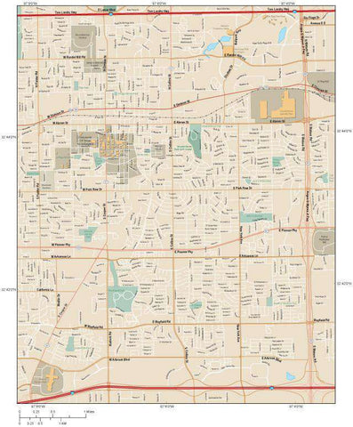Arlington TX Map - Center - 30 square miles - with Local Streets