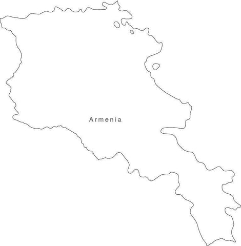 Digital Black & White Armenia map in Adobe Illustrator EPS vector format