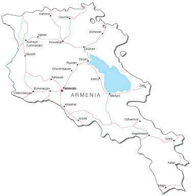 Armenia Black & White Map with Capital, Major Cities, Roads, and Water Features