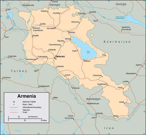 Digital Armenia map in Adobe Illustrator vector format