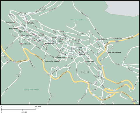 Assisi Map Adobe Illustrator vector format ASI-XX-985666