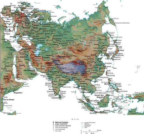 Asia Terrain map in Adobe Illustrator vector format with Photoshop terrain image ASIAXX-542825
