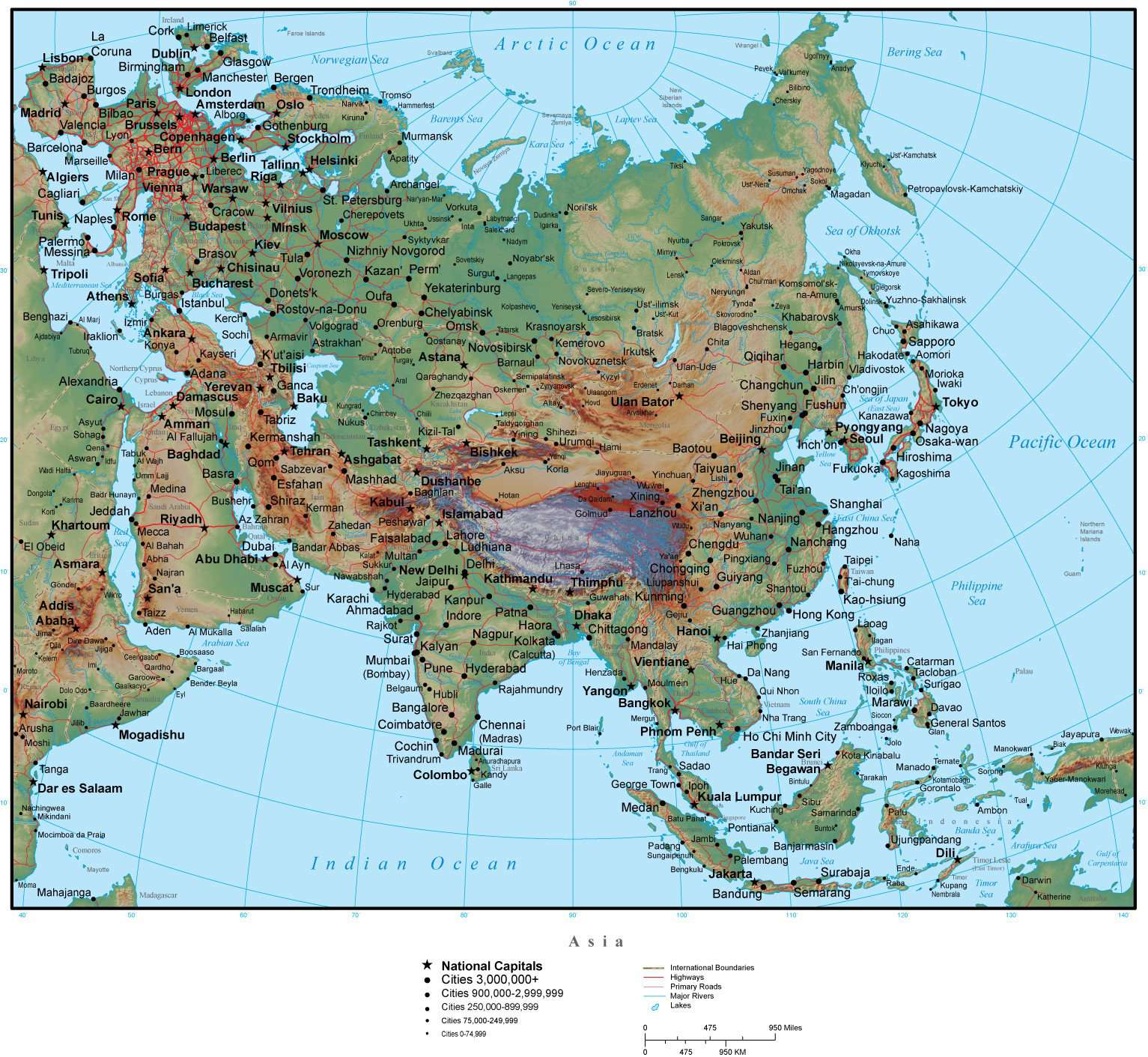 Asia Map Plus Terrain with Countries, Capitals, Cities, Roads, and Water  Features