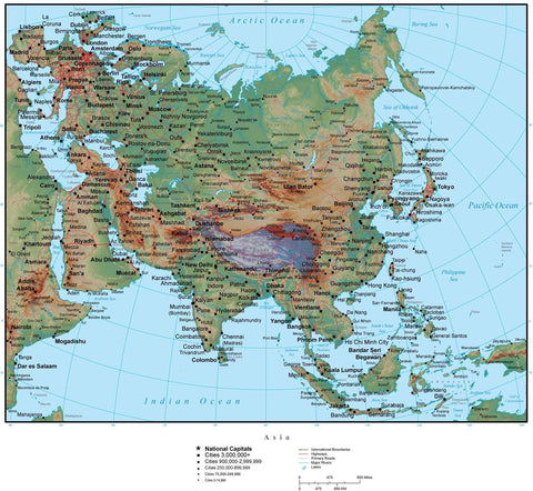 Asia Terrain map in Adobe Illustrator vector format with Photoshop terrain image ASIAXX-952871