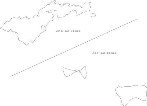Digital Black & White American Samoa map in Adobe Illustrator EPS vector format
