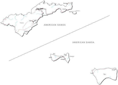 American Samoa Black & White Map with Capital, Major Cities, Roads, and Water Features