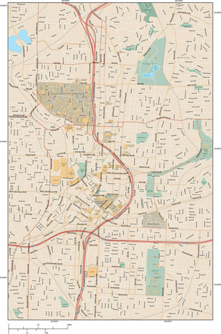 Atlanta  GA Map - Downtown - 15 square miles - with Local Streets