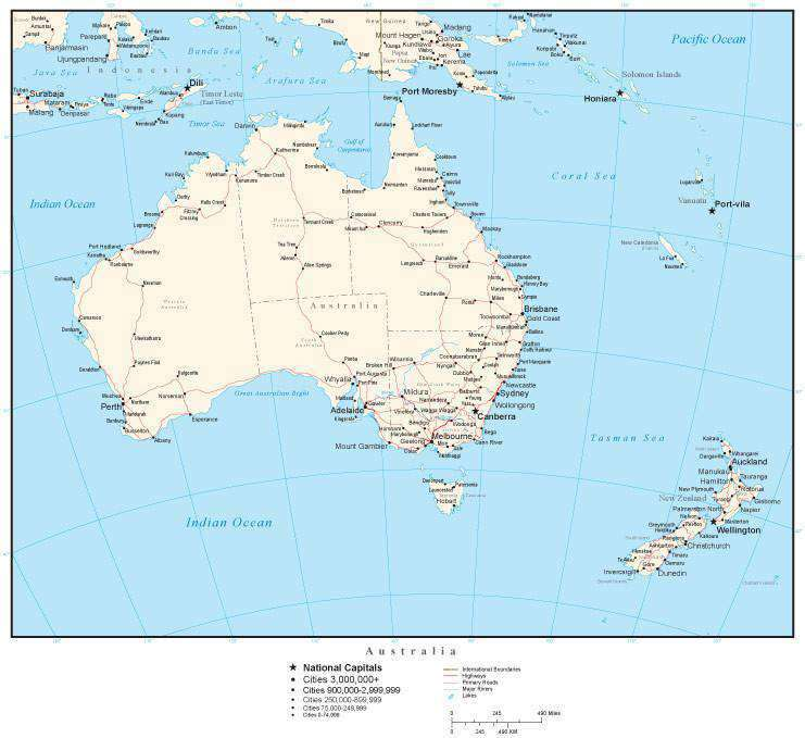 Australia Map With Capital Cities.Australia Map With Country Boundaries Australian States Capitals Cities Roads And Water Features
