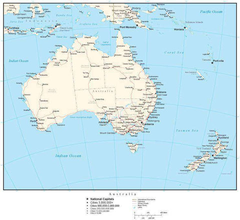 Australia Map with Country Boundaries, Australian States, Capitals, Cities, Roads and Water Features