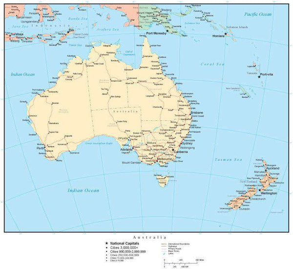 Map Of Australia Roads.Australia Map With Countries Australian States Capitals Cities Roads And Water Features