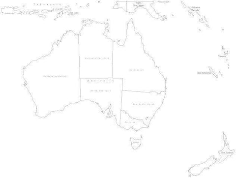Black & White Australia Map with States