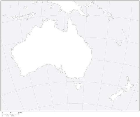 Australia Black & White Blank Outline Map