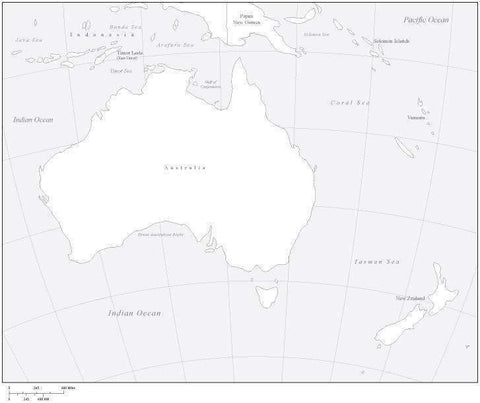 Digital Australia Map - Black & White
