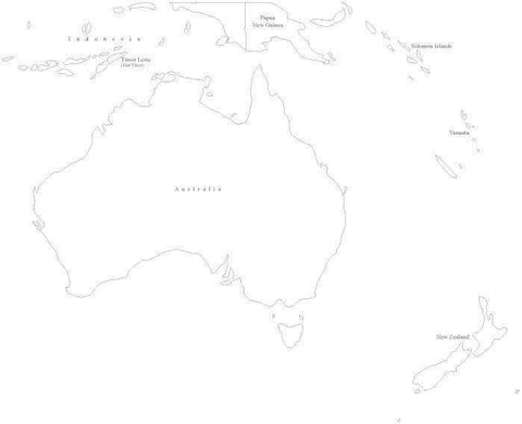 Australia Black & White Map