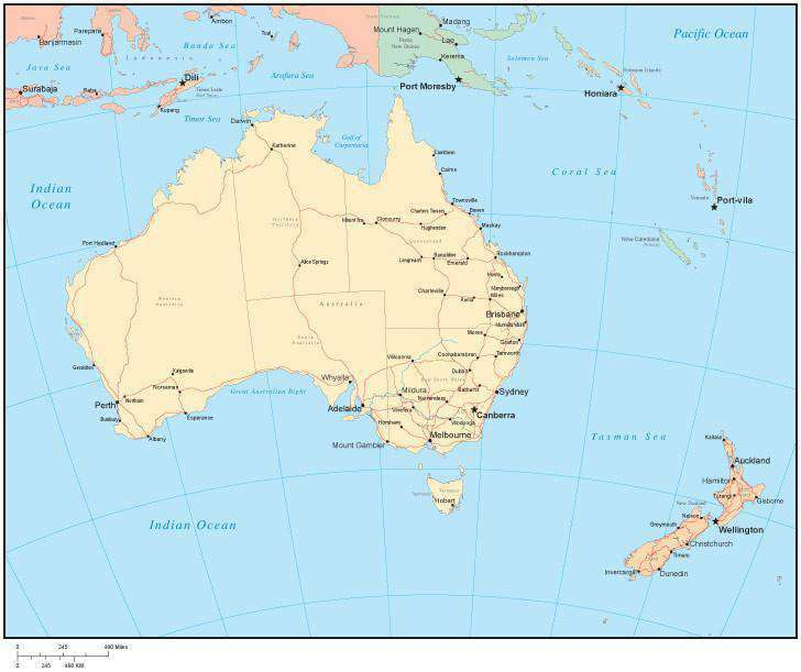 Australia Map States And Cities.Multi Color Australia Map With Australian States Capitals And Major Cities