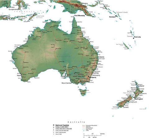 Australia Terrain map in Adobe Illustrator vector format with Photoshop terrain image AUS-XX-542810