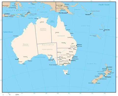 Australia Map with State Areas and Capitals