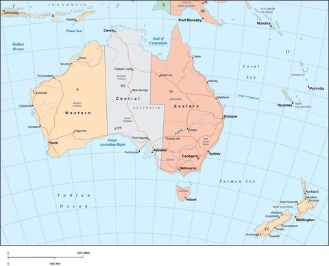 Digital Australia Time Zone map in Adobe Illustrator vector format