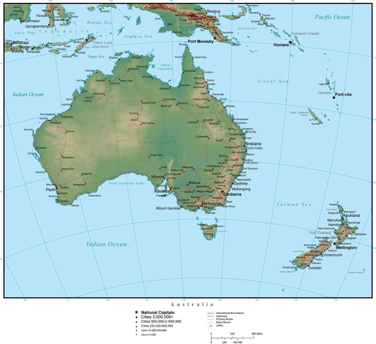 Australia Map With Capital Cities.Australia Map Plus Terrain With Countries Capitals Cities Roads And Water Features
