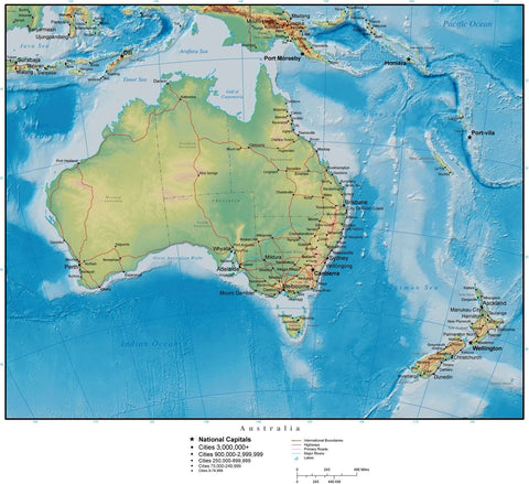 Digital Australia Terrain map in Adobe Illustrator vector format and more AUS-XX-955098