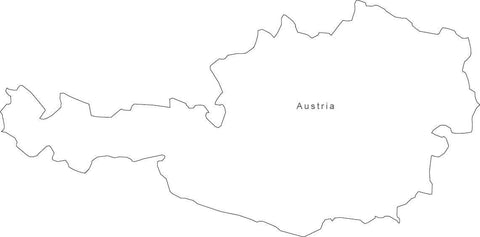 Digital Black & White Austria map in Adobe Illustrator EPS vector format