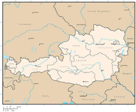 Austria Map with State Areas and Capitals