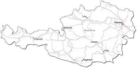 Austria Black & White Map with Capital Major Cities and Roads