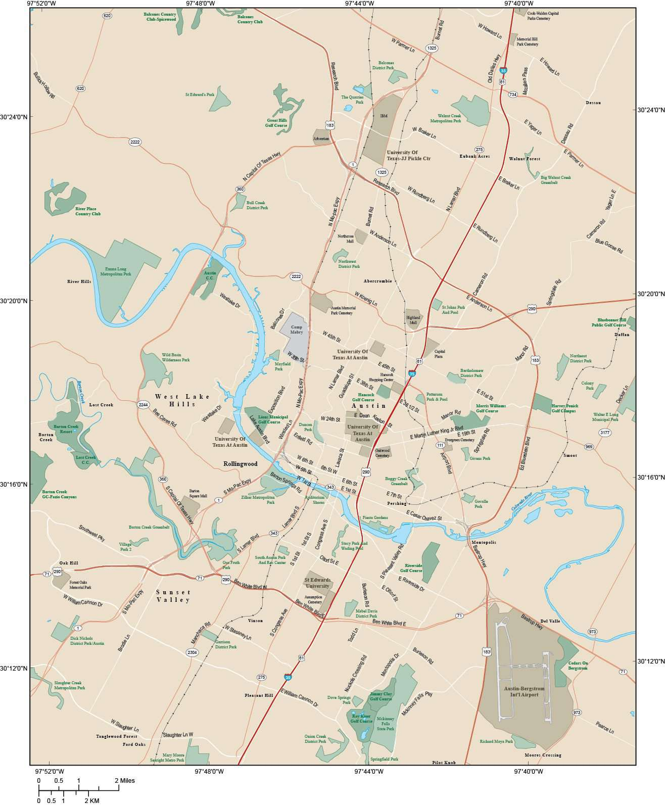 Road Map Of Austin Texas.Austin Tx Map Metro Area 285 Square Miles With Major Roads Only