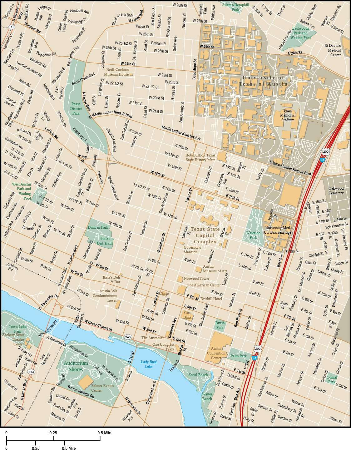Austin Map With Local Streets In Adobe Illustrator Vector Format